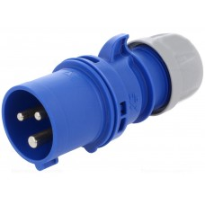 PCE 16 Amp 3 Pin Single Phase 240V Plug - Blue