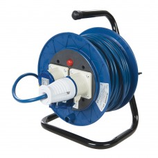 Power Master Industrial Cable Reel 16A 230V Freestanding 2-Gang 25m